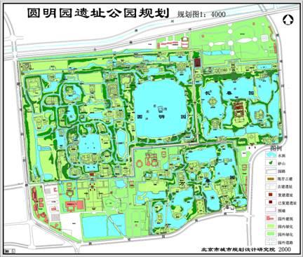圆明园遗址公园手绘地图